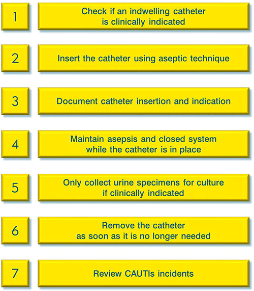 1. Check if an indwelling catheter is clinically indicated. 2. Insert the catheter using aseptic technique. 3. Document catheter insertion and indication. 4. Maintain asepsis and closed system while the catheter is in place. 5. Only collect urine specimens for culture if clinically indicated. 6. Remove the catheter as soon as it is no longer needed. 7. Review CAUTIs incidents